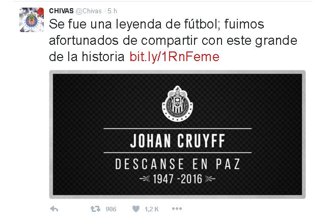 GUADALAJARA tuit Cruyff