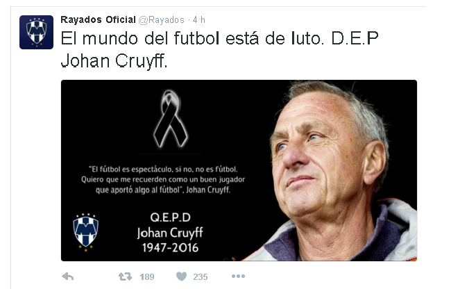 MONTERREY tuit Cruyff