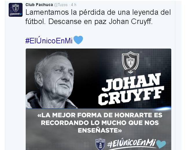 PACHUCA tuit Cruyff