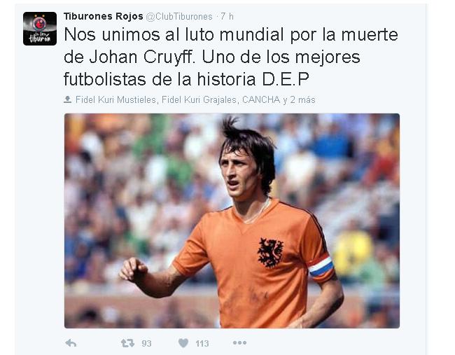 VERACRUZ tuit Cruyff