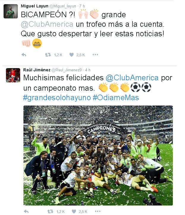 AMÉRICA tuits felicitaciones