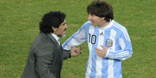 Argentina's striker Lionel Messi (R) is congratulated by Argentina's coach Diego Maradona at the end of the 2010 World Cup round of 16 football match Argentina vs. Mexico on June 27, 2010 at Soccer City stadium in Soweto, suburban Johannesburg. Argentina defeated Mexico 3-1.NO PUSH TO MOBILE / MOBILE USE SOLELY WITHIN EDITORIAL ARTICLE  -      AFP PHOTO / JAVIER SORIANO (Photo credit should read JAVIER SORIANO/AFP/Getty Images)