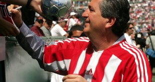 CARSON, CA - APRIL 2:  Owner Jorge Vergara of Chivas USA signs autographs before their inaugural Major League Soccer match with DC United on April 2, 2005 at the Home Depot Center in Carson, California. DC United won 2-0.  (Photo by Stephen Dunn/Getty Images)