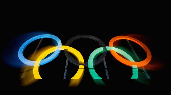 RIO DE JANEIRO, BRAZIL - JULY 19:  (EDITOR'S NOTE: Photo taken with a long exposure and zoom effect) View of the Olympic rings placed at Madureira Park, on July 19, 2016 in Rio de Janeiro, Brazil. The Rio Olympic Games run from August 5-21.  (Photo by Buda Mendes/Getty Images)