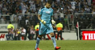 Monterrey's goalkeeper Jonathan Orozco celebrates after his team scored against America, during the Mexican Apertura 2016 tournament football, match at the BBVA Bancomer stadium in Monterrey, Mexico, on October 1,  2016.  / AFP / Julio Aguilar        (Photo credit should read JULIO AGUILAR/AFP/Getty Images)