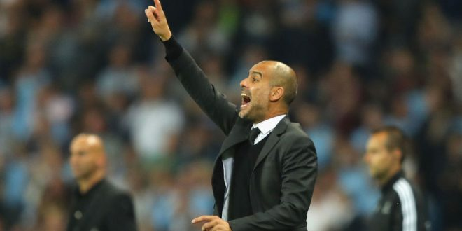 MANCHESTER, ENGLAND - SEPTEMBER 14:  Josep Guardiola manager of Manchester City issues instructions to his players during the UEFA Champions League match between Manchester City FC and VfL Borussia Moenchengladbach at Etihad Stadium on September 14, 2016 in Manchester, England.  (Photo by Richard Heathcote/Getty Images)