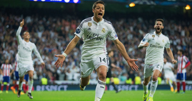 MADRID, SPAIN - APRIL 22: Javier Hernandez of Real Madrid CF (14) celebrates as he scores their first goal during the UEFA Champions League quarter-final second leg match between Real Madrid CF and Club Atletico de Madrid at Bernabeu on April 22, 2015 in Madrid, Spain. (Photo by Gonzalo Arroyo Moreno/Getty Images)