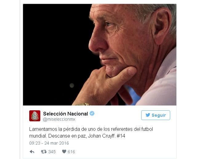 SELECCIÓN NACIONAL tuit Cruyff