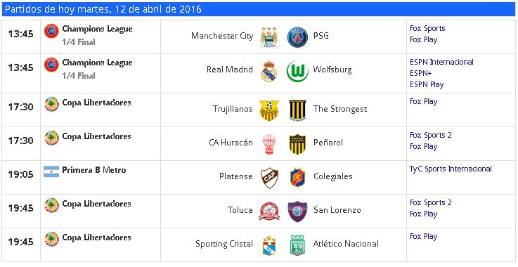 TV partidos mart-12-abr